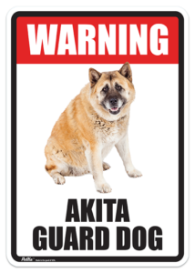 Warning Akita Guard Dog Sign